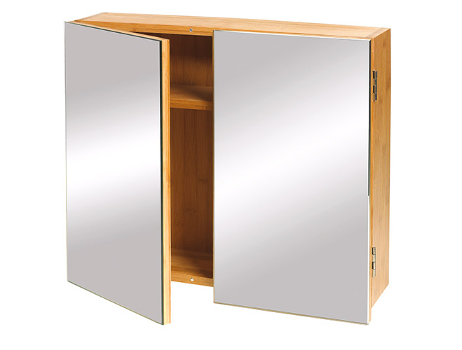 A565 Bathroom Cabinet Double Full Mirror Bamboo Dejay Distributors